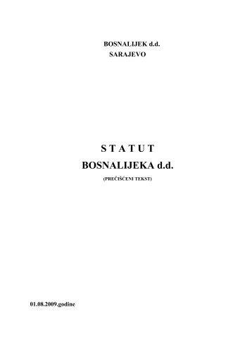 Statut Društva - Bosnalijek dd