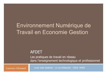 Environnement Numérique de Travail en Economie Gestion - Afdet