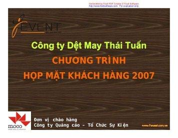 Công ty Dt May Thái Tun CHƯƠNG TRÌNH HP MT KHÁCH HÀNG ...