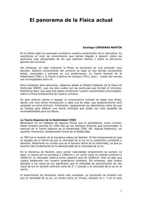 El Panorama De La Fãsica Actual Casanchi