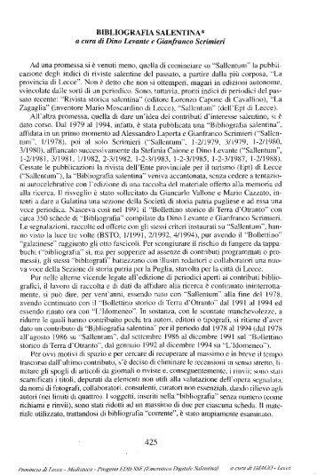 BIBLIOGRAFIA SALENTINA* a cura di Dino ... - culturaservizi.it