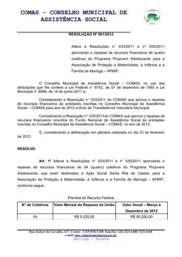 comas - conselho municipal de assistência social - Maringá - Estado ...