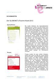 die nominierten globonet etourism-Award 2012