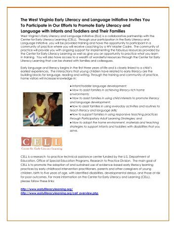 The West Virginia Early Literacy and Language Initiative ... - DHHR