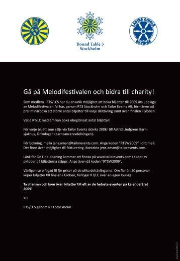 Gå på Melodifestivalen och bidra till charity!