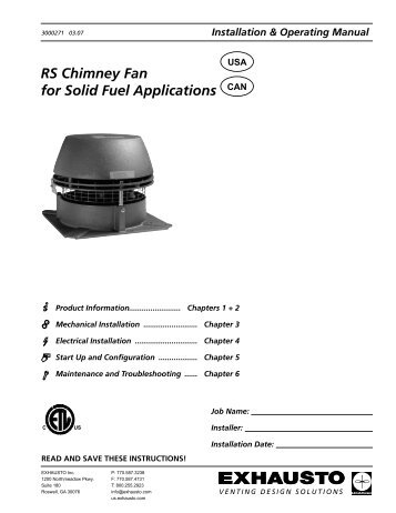 RS Chimney Fan for Solid Fuel Applications