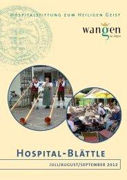 HOSPITAL-BLäTTLE - Hospital zum Heiligen Geist in Wangen