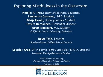 Exploring Mindfulness in the Classroom - College of Education ...