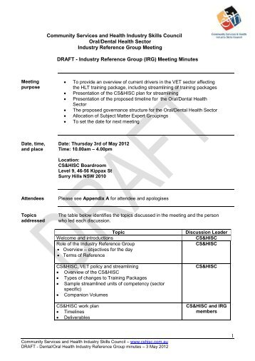 (IRG) Meeting Minutes - Community Services & Health Industry ...