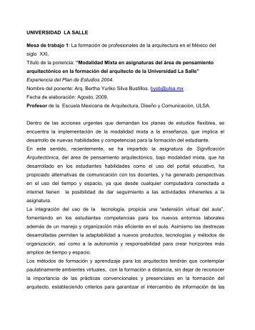 UNIVERSIDAD LA SALLE Mesa de trabajo 1 - Facultad Mexicana ...