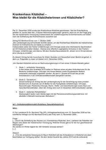Krankenhaus Kitzbühel – Was bleibt für die ... - Liste Fritz