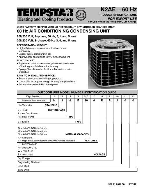 Z-OBS-AC-N2AE**AKR/AHR, 60Hz Specifications