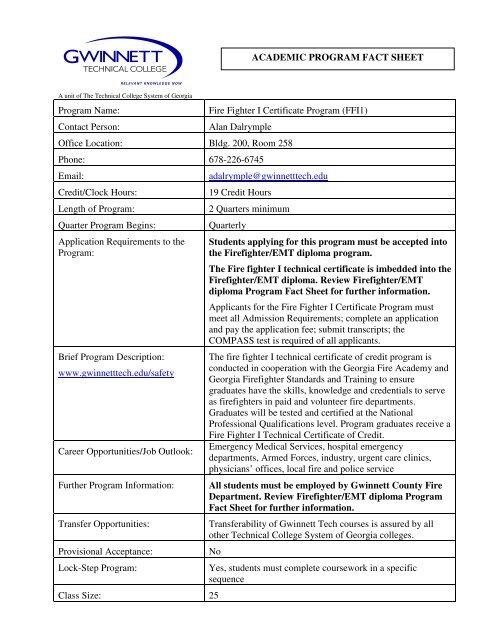 Fire Fighter I Certificate Program Ffi1 Gwinnett Technical College