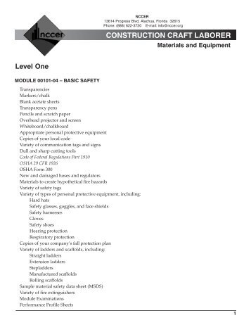 CONSTRUCTION CRAFT LABORER Materials and ... - NCCER