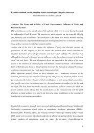 1 Kształt i stabilność czeskich rządów: wpływ systemu partyjnego i ...