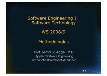 Software Engineering I - Chair for Applied Software Engineering