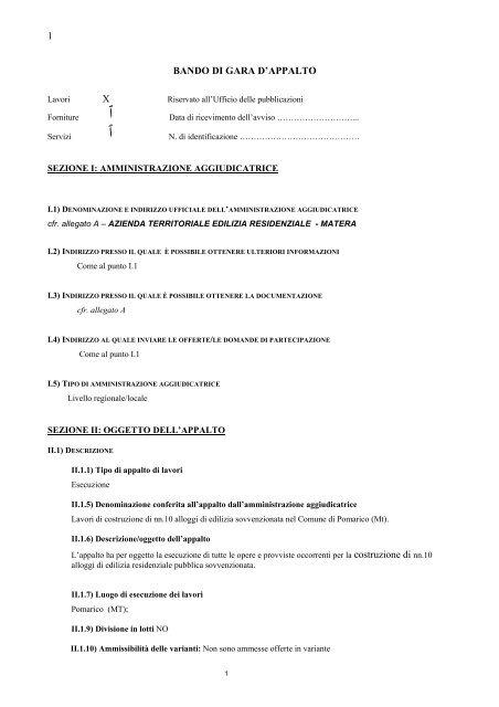BANDO DI GARA D'APPALTO - ATER MATERA