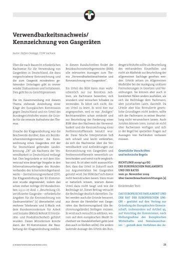 Verwenbarkeitsmachweis / Kennzeichnung von Gasgeräten