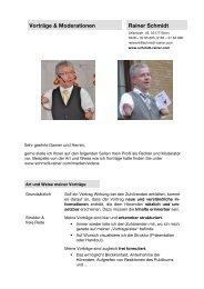 Vorträge und Moderationen - Rainer Schmidt