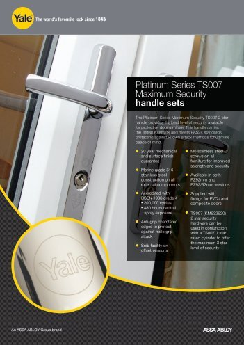 TS007 2* Maxinum Security Handle series - Yale Door and Window ...