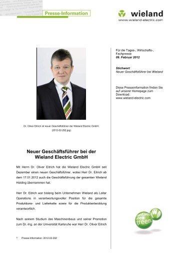 Neuer Geschäftsführer bei der Wieland Electric GmbH