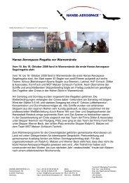 Hanse-Aerospace-Regatta vor Warnemünde - Hanse Aerospace e.V.