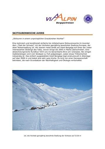 SKITOURENWOCHE AVERS - Via-Alpin.de