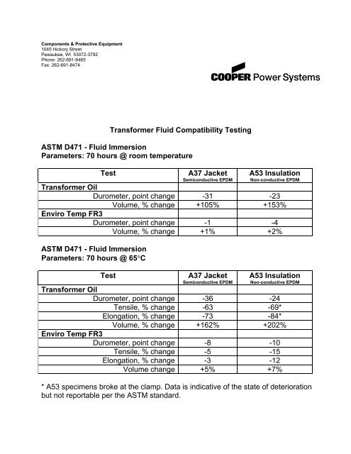 Elbow Rubbers and FR3 Fluid — Test - SPX Transformer Solutions