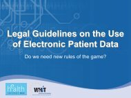Legal Guidelines on the Use of Electronic Patient Data