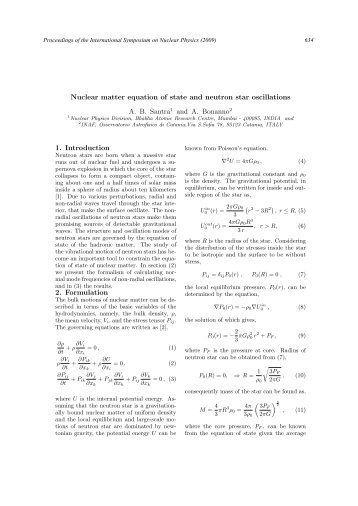 Nuclear matter equation of state and neutron star oscillations A. B. ...
