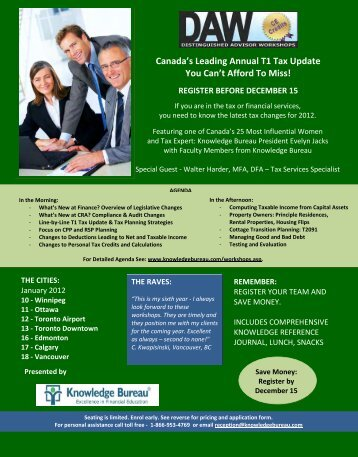 Canada's Leading Annual T1 Tax Update You Can't Afford To Miss!