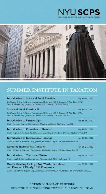 Summer InStItute In taxatIon - School of Continuing and Professional ...