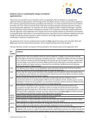 Guidance notes on completing the College accreditation ... - BAC