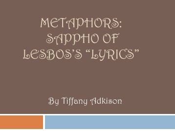 "METAPHORS: SAPPHO OF LESBOS'S ""LYRICS"""