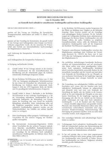 RICHTLINIE 2003/122/EURATOM DES RATES vom 22 ... - EUR-Lex