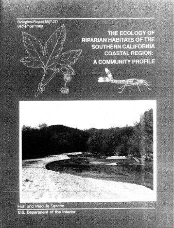 The Ecology of Riparian Habitats of the Southern California Coastal ...
