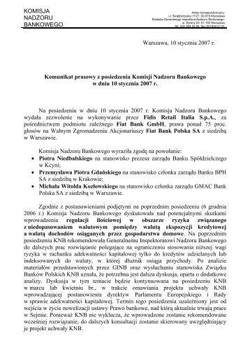 Komunikat prasowy z posiedzenia Komisji Nadzoru Bankowego w ...