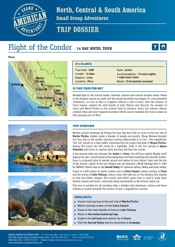 Flight of the Condor 14 Day hotel tour - Adventure holidays
