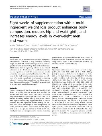 Eight weeks of supplementation with a multi-ingredient weight loss ...