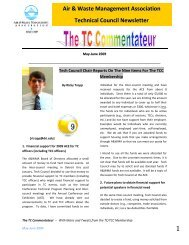 Technical Council Newsletter - Spring 2009 - Air & Waste ...