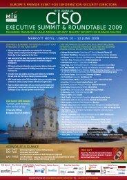 EXECUTIVE SUMMIT & ROUNDTABLE 2009 - MIS Training