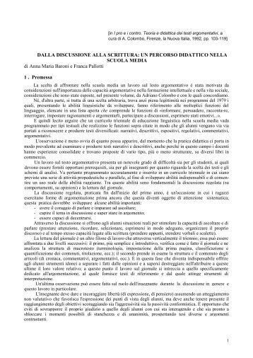 un percorso didattico nella scuola media - Adrianocolombo.it