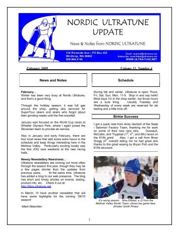 1 February 2009 Volume 11, Number 4 News ... - Nordic Ski Racer