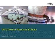 Presentation 2012 Orders Received & Sales - Rieter