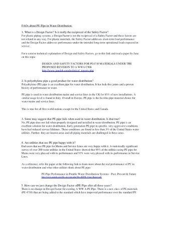 PE Water Pipe FAQs - Plastics Pipe Institute