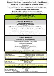 Preise Saison 2010 - Stand Januar Preise für Schulklassen und ...