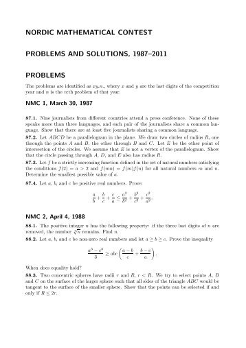 nordic mathematical contest problems and solutions, 1987–2011