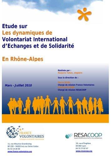 Etude sur Les dynamiques de Volontariat International d ... - Resacoop