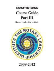 Faculty Course Guide - Part III - Rotary Leadership Institute