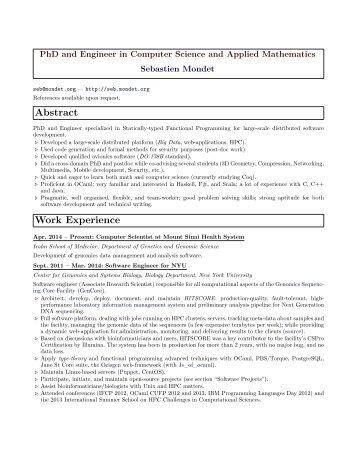 CV / Resume - Sebastien Mondet